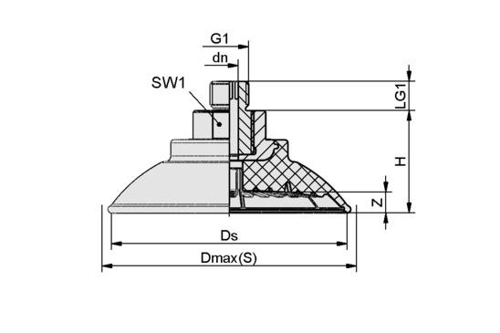 SAF 50 NBR-60 M14x1.5-AG