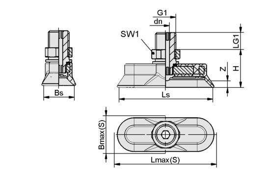 SAOG-S 95x40 NBR-60 G1/4-AG