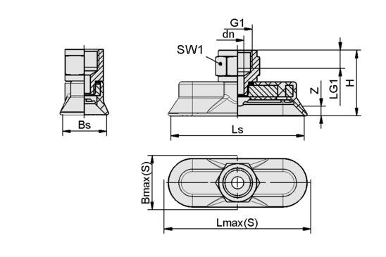 SAOG-S 80x30 NBR-60 G1/4-IG
