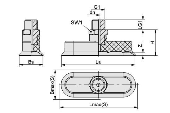SGON 45x15 NBR-60 G1/4-AG