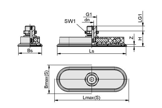 SAOF 100x50 NBR-60 G1/4-AG