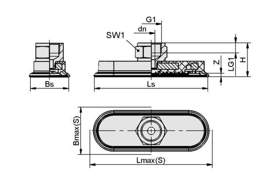 SAOF 60x23 NBR-45 G1/4-IG