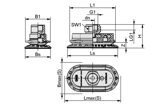 SAOB 110x55 NBR-60 G3/8-IG