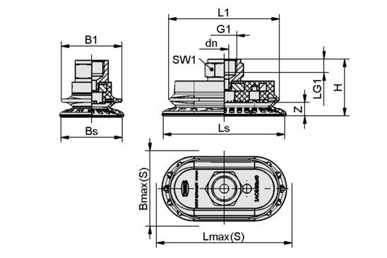 SAOB 110x55 NBR-60 G1/4-IG