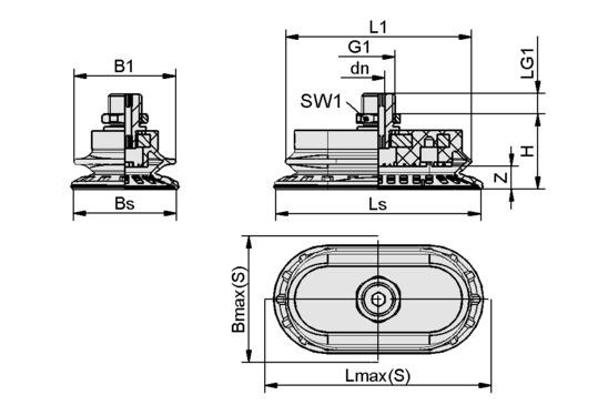 SAOB 110x55 NBR-60 G1/4-AG