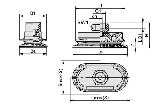 SAOB 110x55 HT1-60 G3/8-IG