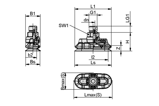 SPOB1f 60x25 SI-55 G1/4-AG