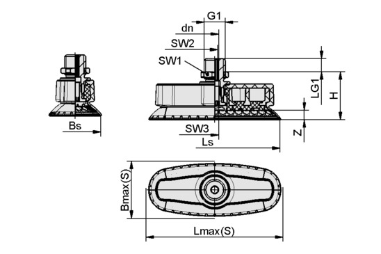 SAOXM 100x40 ED-85 M14x1.5-AG