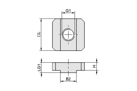 NUT-STEI 20 M8-IG 10
